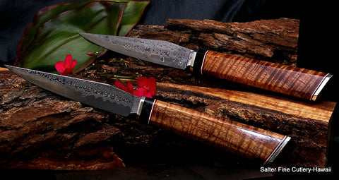 Collectible luxury dining steak knives handcrafted in Hawaii from Salter Fine Cutlery