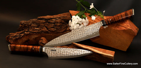 Custom hand-forged chef knives can be ordered individually or as sets from Salter Fine Cutlery of Hawaii