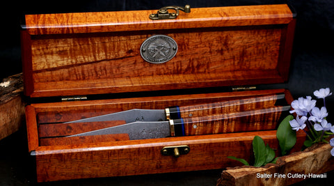 Unique one-of-a-kind collectible two piece knife set in a keepsake box signed and numbered by the bladesmith