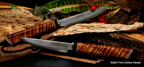 Salter Fine Cutlery beautiful koa wood custom handforged steak knife set