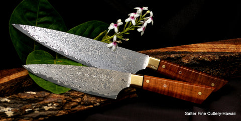 hand-forged 2-pc chef knife set with brass bolsters black accents and one decorative mosaic pin