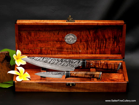 2-piece chef knife set in keepsake box ready for instant purchase and shipping now Salter Fine Cutlery Hawaii
