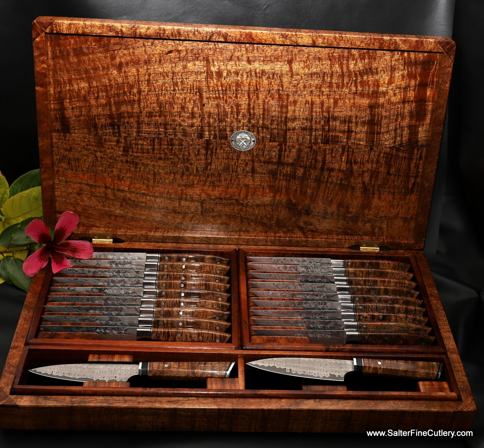 20-piece steak knife set including 2 personal cattleman's style steak knives in gorgeous curly Hawaiian premium upgrade koa wood presentation box handcrafted by Gregg Salter of Salter Fine Cutlery in Hawaii