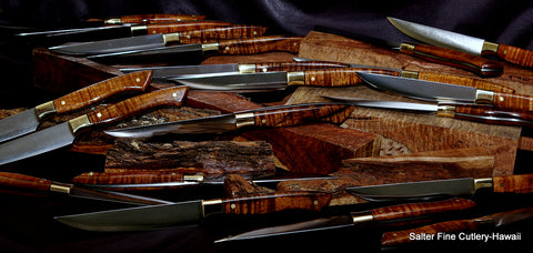 Custom handmade steak knives featured at The Grill New York handmade exclusively by Salter Fine Cutlery