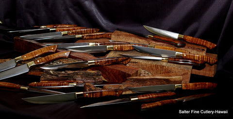Handmade stainless steak knives with R2 steel by Salter Fine Cutlery of Hawaii