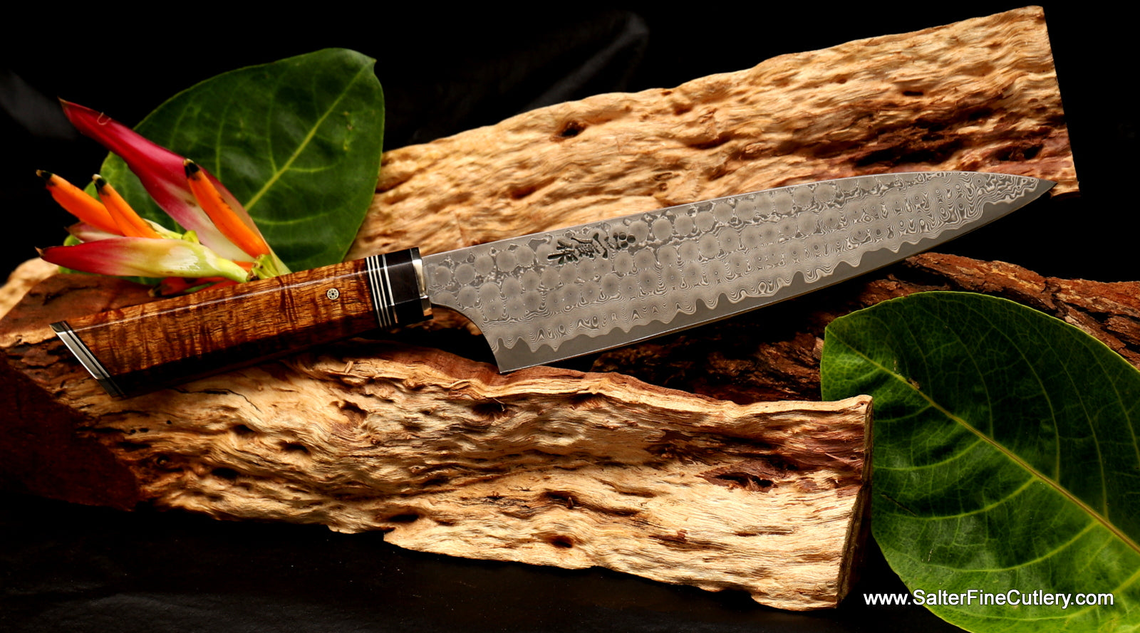 Beautiful handmade chef knife Charybdis design series kitchen knives by Salter Fine Cutlery