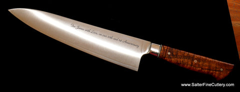 8-inch chef knife with custom engraving and curly koa wood handle