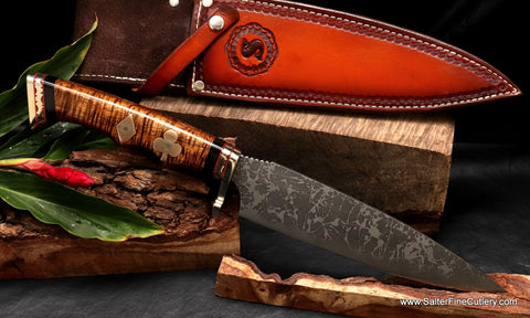 Salter-Kiku Limited Edition Combat Chef knife MkII with gambler motif by Salter Fine Cutlery