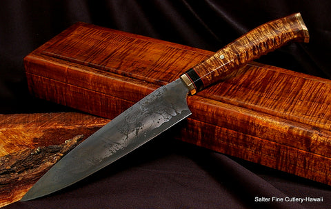 "The original collectible ""Combat Chef Knife"" with decorative curved handle and finger grips by Gregg Salter of Salter Fine Cutlery"