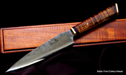 Limited Edition collector Combat Chef Knife with koa wood keepsake box by Salter Fine Cutlery