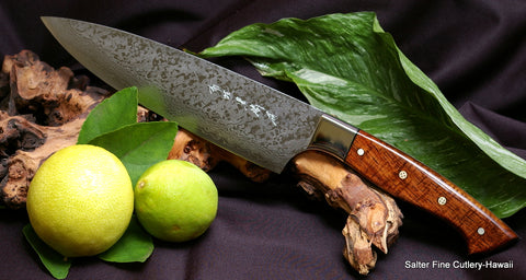 Handcrafted chef knife with stainless damascus 8 inch blade and exotic hardwood handle by Salter Fine Cutlery