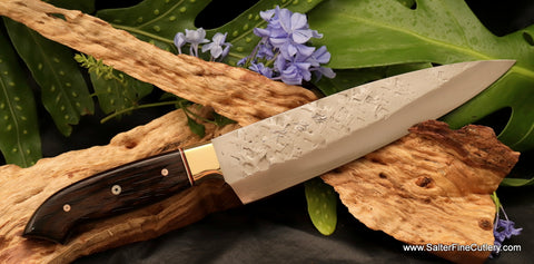 Salter Saji collaboration chef knife with x-pattern hammered finish from Salter Fine Cutlery
