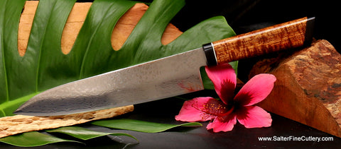 210mm handmade chef knife stainless Japanese mirror damascus from Salter Fine Cutlery of Hawaii
