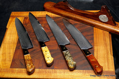 210mm chef knives with a variety of handle woods