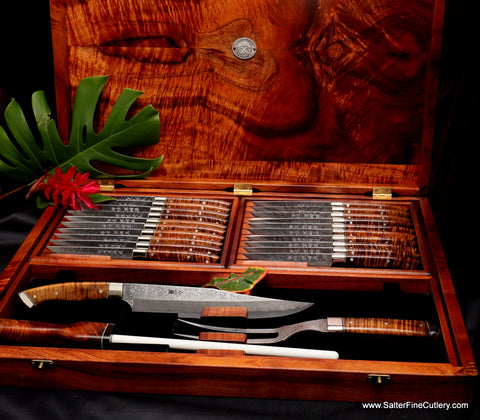 24-piece combination steak and carving set handcrafted one-of-a-kind knife set by Salter Fine Cutlery