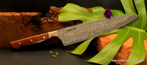 Beautiful luxury kitchen knife for professional chef or gourmet home cooking from Salter Fine Cutlery of Hawaii