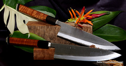 240mm hand-forged Japanese chef knife with decorative handle Salter Fine Cutlery