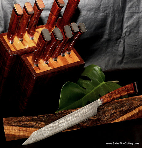 Slicing knife as shown part of 11-piece custom chef knife set with knife block by Salter Fine Cutlery of Hawaii