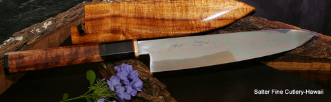 260mm chef knife with partial tang decorative handle by Salter Fine Cutlery