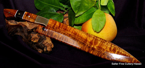 270mm custom chef knife with matching sheath and decorative handle