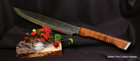 Custom order 300mm partial tang carving knife with decorative handle by Salter Fine Cutlery