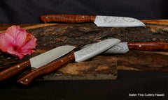 Custom order 4-piece cheese knife set and solid koa wood handles