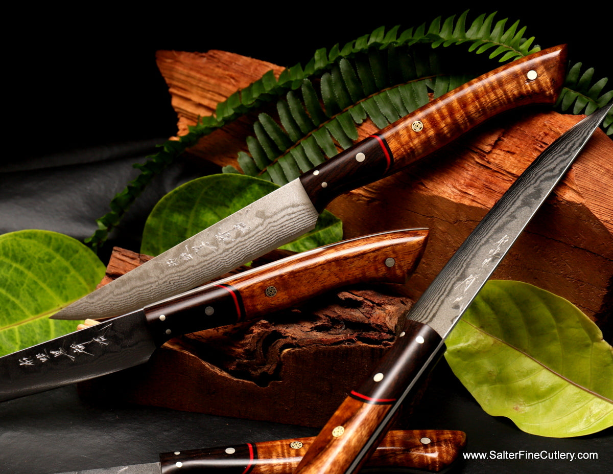 4-piece handmade steak knife set with variety of Hawaiian koa wood handles from Salter Fine Cutlery