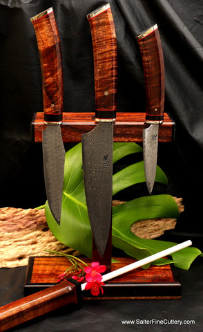 Small handforged chef knife set with magnetic stand and integrated sharpening rod by Salter Fine Cutlery