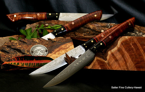 Custom dining decor handmade stainless damascus steak knives by Salter Fine Cutlery