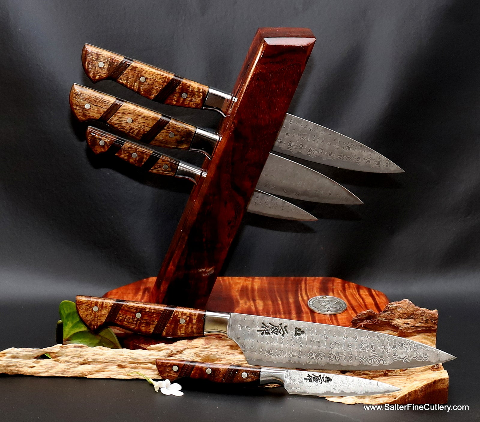 Custom handmade Charybdis design chef knives with full tang handles luxury kitchen knives from Salter Fine Cutlery