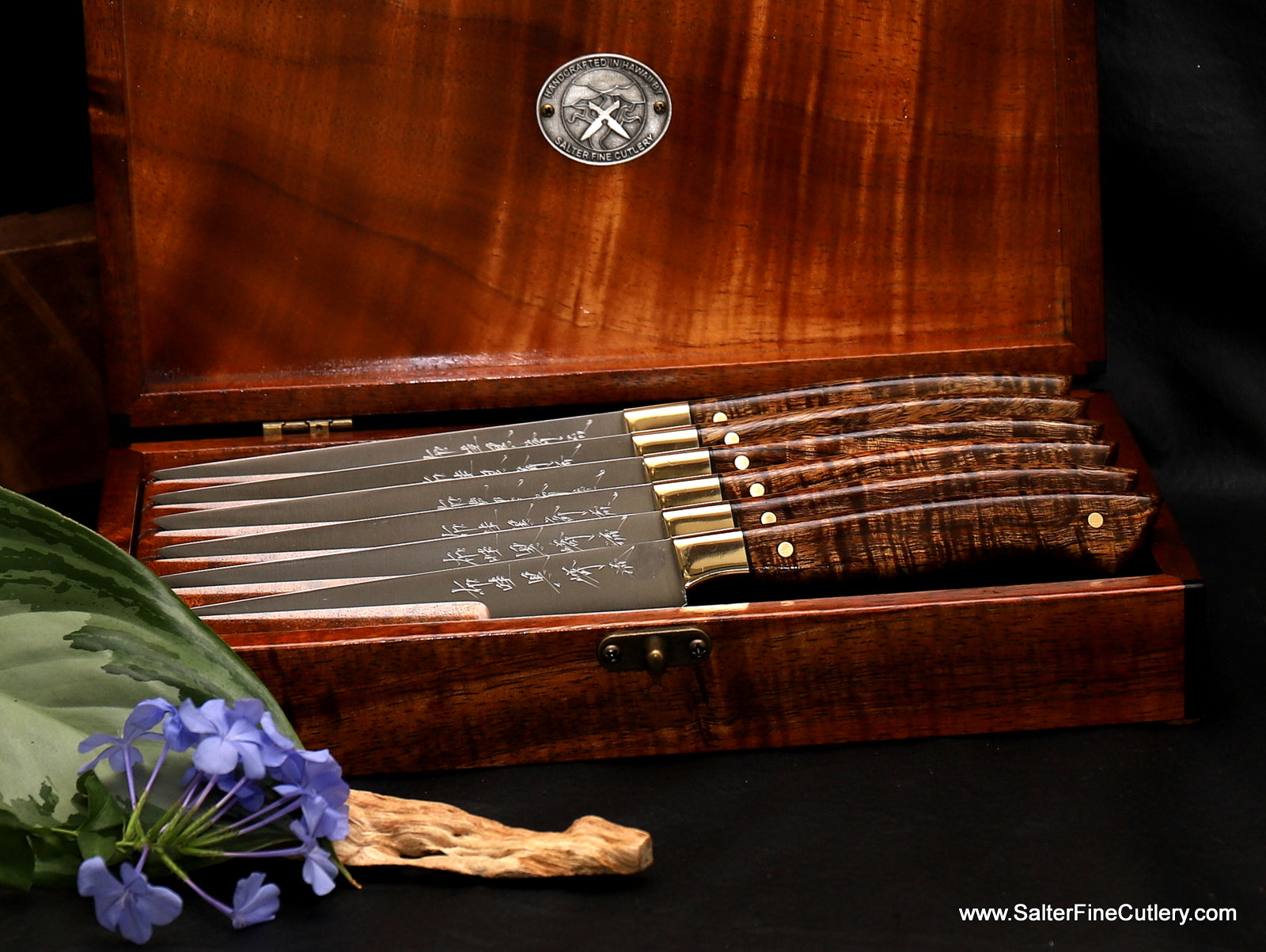 Custom handmade stainless steel steak knife set with satin clad finish R2 blades and beautiful handcrafted handles and keepsake box by Salter Fine Cutlery of Hawaii