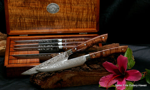 Handcrafted custom damascus stainless steak knife set in box from Salter Fine Cutlery