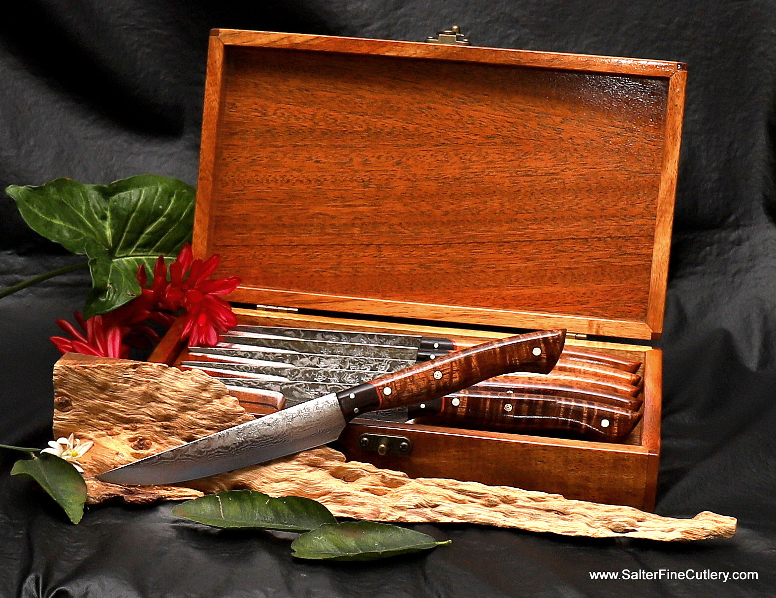 6-piece luxury steak knife set in under-counter stackable gift box handcrafted in Hawaii with exotic and beautiful koa wood handles and box by Salter Fine Cutlery