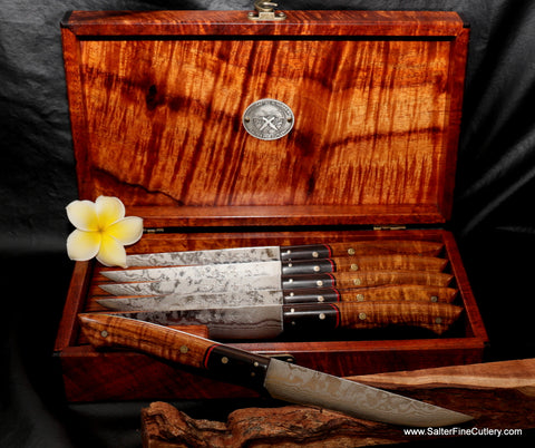 Custom handmade steak sets with exotic Hawaiian koa wood handles and box