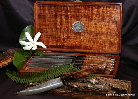 Handforged steak knife set with R2 clad blades with koa and ebony handles in matching keepsake box