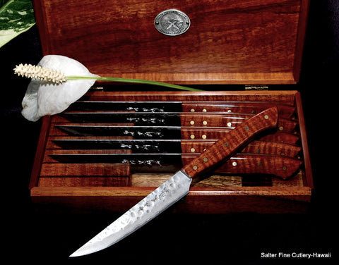 Custom handmade steak knife set with Hawaiian exotic wood handles by Salter Fine Cutlery