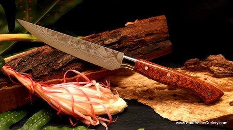 Handcrafted elegance steak knife Damascus Hawaiian exotic woods Salter Fine Cutlery