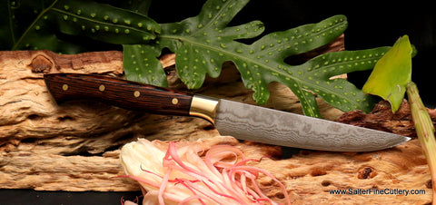 Handmade custom stainless damascus steak knives from Salter Fine Cutlery of Hawaii