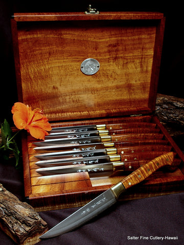 R2 stainless handcrafted steak knife set with brass bolsters and black accent options