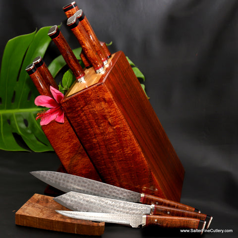 Luxury one-of-a-kind handmade chef knife set in block stand by Salter Fine Cutlery of Hawaii
