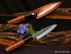 Pair of custom paring knives with Hon Yaki blades and traditional Japanese style handle and sheath