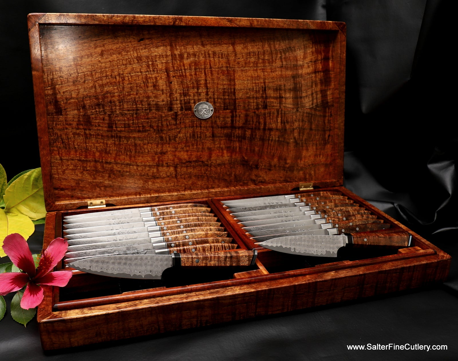 20-piece custom steak knife set in presentation box by Salter Fine Cutlery