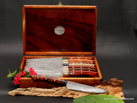 8-piece custom luxury handmade steak knife set handles with exotic hardwood variety from Salter Fine Cutlery of Hawaii