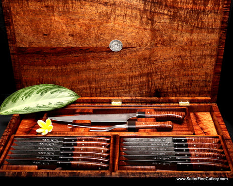 Beautiful large combination steak knife and carving set for luxury entertaining with amazing handcrafted presentation box from Salter Fine Cutlery Hawaii