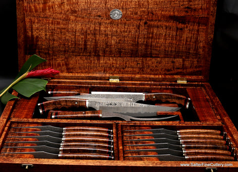 Beautiful combination Charybdis collection carving and steak knife set in presentation box by Salter Fine Cutlery of Hawaii