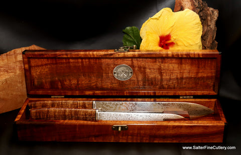 The perfect Wedding gift or Fathers Day gift Handmade Custom chef knife set from Salter Fine Cutlery Hawaii