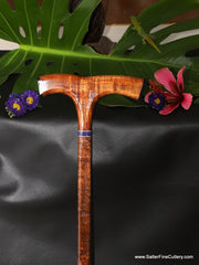 Handcrafted curly koa wood cane with special request purple faux stone accent by Salter Fine Cutlery and Woodworking of Hawaii