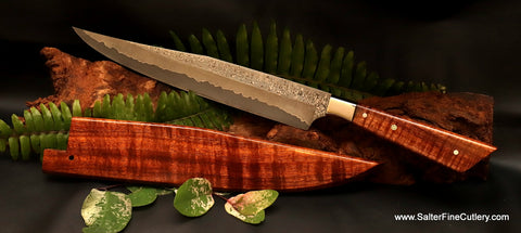 Custom handmade carving knife with 10.5 inch blade and Euro-Fusion modern handle with sheath from Salter Fine Cutlery of Hawaii