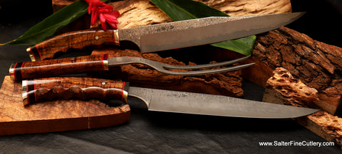 Handmade stainless steel damascus carving set with artistic design handles by Salter Fine Cutlery of Hawaii