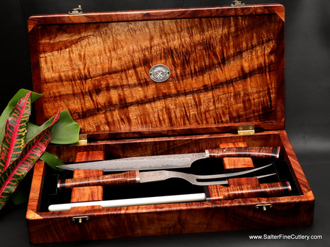 3-piece handmade carving set in presentation box by Salter Fine Cutlery of Hawaii